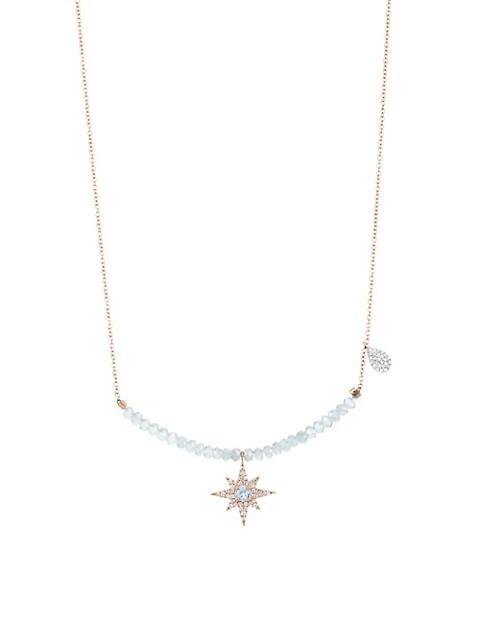 14K Rose Gold, 14K White Gold, Diamond, Blue Topaz & Silverite Pendant Necklace