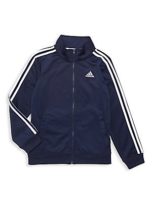 Image of Athletic jacket with signature logo details. Stand collar Long sleeves Ribbed cuffs and hem Front zip closure Embroidered logo at left chest Signature stripes along sleeves Welt pockets Athletic fit Polyester Machine wash Imported. Children's Wear - Class