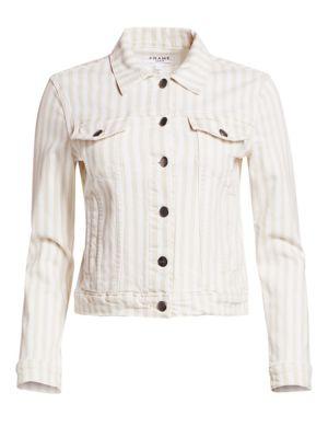Frame Jackets Le Vintage Striped Cropped Jacket