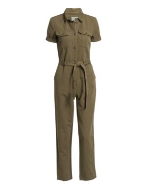 58967416b0a7 Frame Short Sleeve Belted Jumpsuit In Army Green