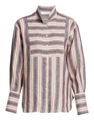 Frame T-shirts Striped Bib Linen Button-Down Shirt