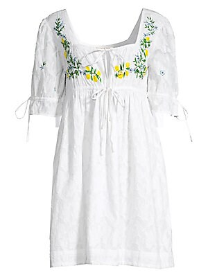 """Image of Lightweight textured cotton mini dress with embroidered floral accents and ultra-feminine styling. Squareneck Short puff sleeves Dual drawstring closure Keyhole cutout Empire waist Cotton Dry clean Imported SIZE & FIT A-line silhouette About 35"""" from shou"""