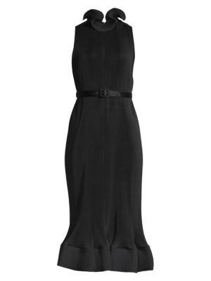 Tibi Dresses Pleated Sleeveless Flounce Sheath Dress