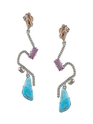"""Image of Abstract earrings with a structural finish flaunts bold stones. 10K goldplated rhodium brass Synthetic turquoise Shell based pearl Picture jasper Raspberry corundum Crystals Post back Imported SIZE Drop, 3.1"""". Fashion Jewelry - Alexis Bittar > Saks Fifth"""