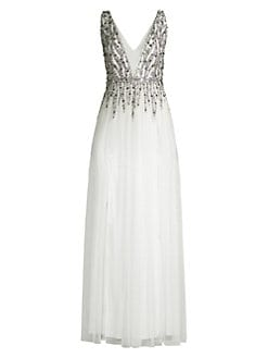 9bf3f49b55976a QUICK VIEW. Aidan Mattox. Beaded Mesh Gown