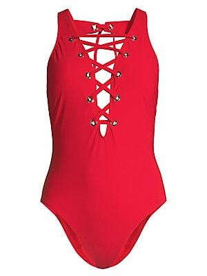 Image of Crisscross lace accented swimsuit with medium allover control for a full body embrace. Plunging V-neck Front lace-up with grommet detail Removable soft cups Open portrait back with adjustable tie Nylon/spandex Hand wash Imported. Outerwear And S - Modern