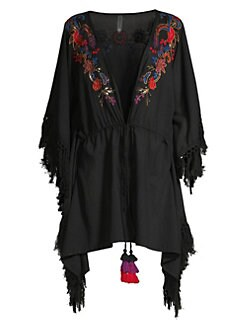 f3a905a26c Camille Indochine Embroidered Beach Wrap BLACK MULTI. QUICK VIEW. Product  image