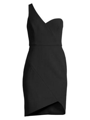 Bcbgmaxazria Dresses One-Shoulder Stretch Crepe Wrap Dress