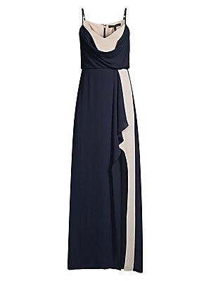 Image of A classic column silhouette in flowy georgette, this sleeveless gown is designed with a lovely draped bodice and skirt, and alluring front leg slit. V-neck Adjustable spaghetti straps Sleeveless Concealed back zip with hook-and-eye and hook-and-bar closur