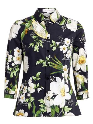 Carolina Herrera Tops Floral Printed Button-Down Blouse