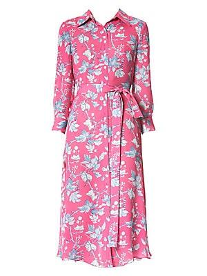 2f8a0f45ea13a Carolina Herrera - Floral Belted Silk Midi Dress