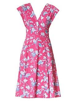 1a3166fab55d7 QUICK VIEW. Carolina Herrera. Floral Cap-Sleeve A-Line Dress