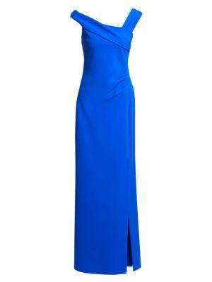 Asymmetric Off The Shoulder Gown by Teri Jon By Rickie Freeman