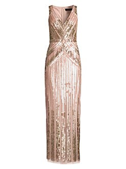 1f3ec6a5 Beaded V-Neck Column Gown BLUSH. QUICK VIEW. Product image. QUICK VIEW. Aidan  Mattox