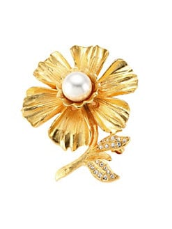 58b0d03e0 QUICK VIEW. Kenneth Jay Lane. Goldplated Faux-Pearl & Crystal Flower Pin
