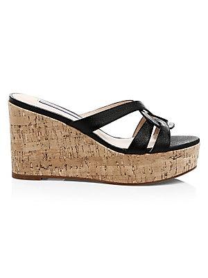 293b67a83039 Stuart Weitzman - Cadence Cork   Leather Platform Wedge Sandals ...