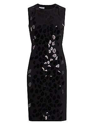 Image of A cascade of animal dot paillettes shimmer across the front of this sleeveless dress. Cut from a smooth jersey, the tailored fit hugs curves with a comfortable stretch finish. Roundneck Sleeveless Concealed back zip with circular pull Viscose/nylon-polyam