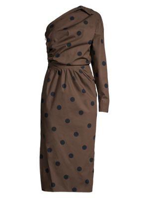 Max Mara Dresses Angelo One-Sleeve Polka Dot Dress