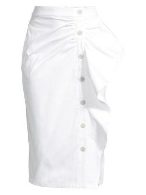 Max Mara Skirts Edmond Side-Ruffle Cotton Skirt