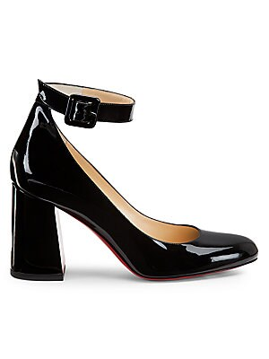 "Image of A bold block heel and ankle strap closure defines these patent leather pumps. Patent leather upper Almond toe Adjustable ankle strap Leather sole Made in Italy SIZE Self-covered block heel, 3.25"" (85mm). Women's Shoes - C Louboutin Womens Shoes > Saks Fif"