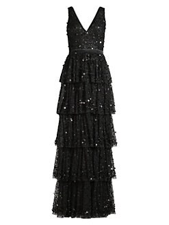 Basix Black Label. Sequined Tiered Tulle Gown b0cfcbc0eb77