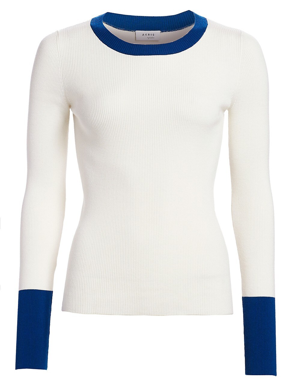 Akris Punto WOMEN'S BICOLOR STRETCH-WOOL CREWNECK PULLOVER