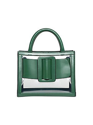 "Image of A wraparound buckle is a detail enhancing this smart leather-trimmed PVC bag. Removable, adjustable shoulder strap Dual top handles Open top PVC/calf leather/calf suede Imported SIZE 9""W x 7""H x 6""D. Handbags - Italian Designers. Boyy. Color: Leaf."