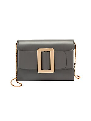 "Image of A contrast buckle enhances this leather bi-fold wallet. Removable chain shoulder strap Snap flap closure One inside zip compartment Two inside open compartments Lining: Calf suede Calf leather Imported SIZE 8.25""W x 6""H x 1.5""D. Handbags - Italian Designe"