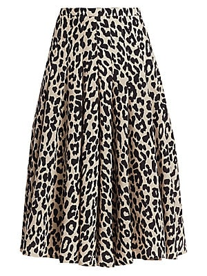 Image of A bold leopard print adorns this skirt, while a lightweight wool construction ensures it retains a refined elegance. Soft pleats fall from the hip, lending fluttering volume and fluid movement to this midi. Banded waist Concealed side zip Pleated finish W