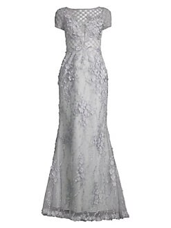 237206a1de55b Basix Black Label. V-Neck Beaded Gown. $950.00 · Embellished Tulle  Cap-Sleeve Gown SILVER. QUICK VIEW. Product image