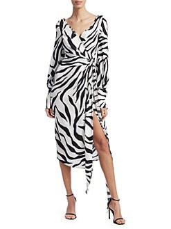 14a738de Oscar de la Renta. Long Sleeve Zebra Wrap Dress