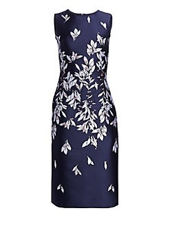 7931d120b4e Oscar de la Renta. Embroidered Floral Knee-Length Flare Dress