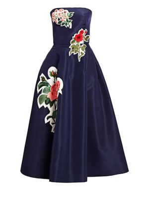 Oscar De La Renta Floral Appliqu Strapless Silk Dress