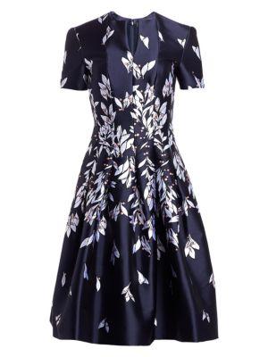Oscar De La Renta Dresses Floral Jacquard A-Line Cocktail Dress