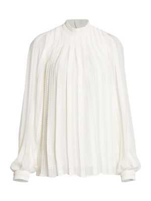 Derek Lam Tops Embroidered Trapeze Puff-Sleeve Mockneck Blouse