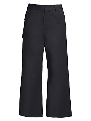 Image of A refined take on the classic cargo pant style, this stretch cotton sateen version features sleek lines and elevated styling. Tailored at the waist, the pants fall to a structured wide-leg silhouette and are cropped at the ankle. Banded waist with belt lo
