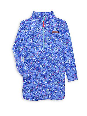 Image of Dimensional floral print elevates this psychedelic shirt. Mockneck Long sleeves Zip front placket Cotton/spandex Machine wash Imported. Children's Wear - Classic Children > Saks Fifth Avenue. Vineyard Vines. Color: Jake Blue. Size: 4T.