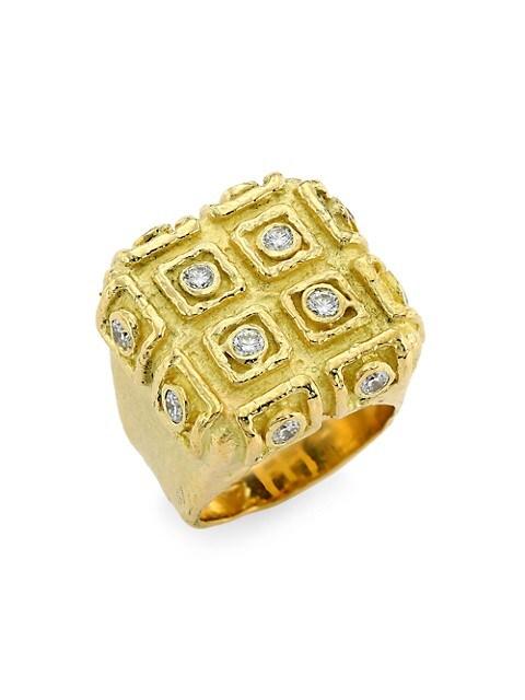 E2 18K Yellow Gold & Diamond Medium Ring