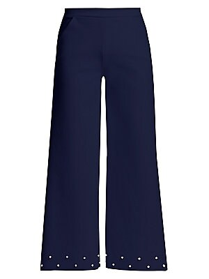 """Image of Ankle length pants in a bold wide-leg silhouette flaunts understated imitation pearls. Banded waist Pull-on style Side slash pockets Polyamide/elastane Hand wash Made in Italy of imported fabric SIZE & FIT Rise, about 10.5"""" Inseam, about 27.5"""" Leg opening"""