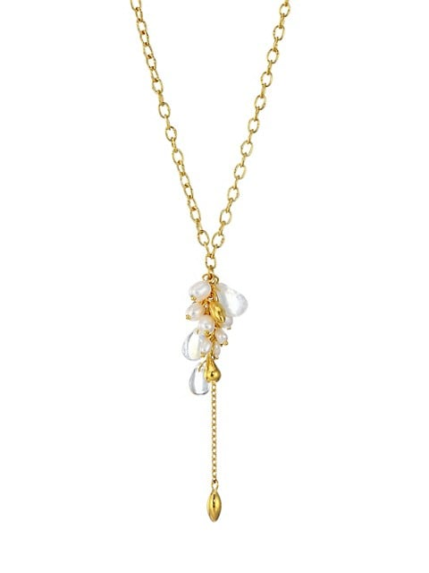 Delicate Dew 24K Yellow Gold Multi-Gemstone Cluster Necklace