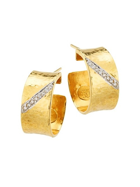 Hourglass 22K Yellow Gold, 18K White Gold & Diamond Hoop Earrings