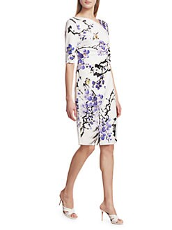 1c380f48663 Teri Jon by Rickie Freeman. Floral Asymmetric Neckline Dress