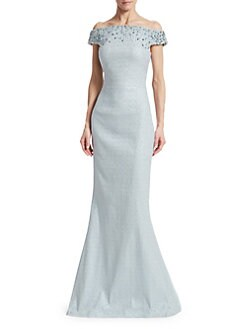 82c542c9a6f Teri Jon by Rickie Freeman. Off-The-Shoulder Beaded Jacquard Gown