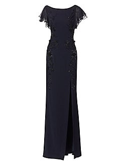 eed91851cd5 Leg Slit Beaded Crepe Gown NAVY. QUICK VIEW. Product image