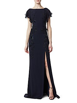 48fe9d93f48 Teri Jon by Rickie Freeman. Leg Slit Beaded Crepe Gown