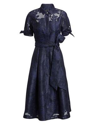 Teri Jon By Rickie Freeman Collared Organza Burnout Jacquard Cocktail Dress
