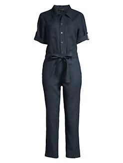 82fb81235227 Donna Karan New York. Linen Belted Rolled-Cuff Jumpsuit