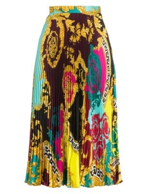 Versace Baroque Pleated Midi Skirt