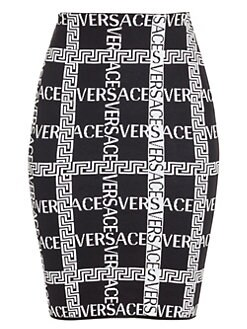 9f8fcc56a7 QUICK VIEW. Versace. Logo Jacquard Knit Pencil Skirt