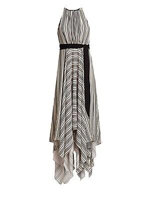 Sleeveless Strip Back Striped Handkerchief Dress by Halston Heritage